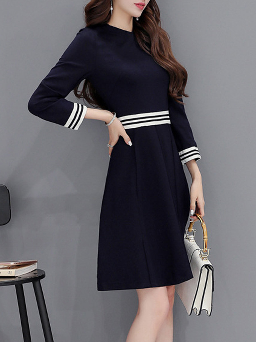 Crew Neck Striped Skater Dress