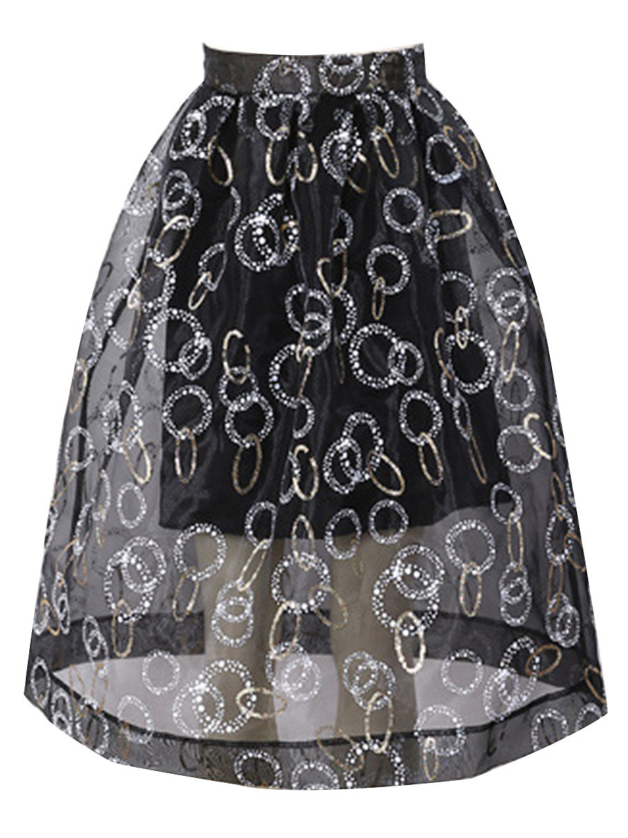 See-Through  Printed  Flared Midi Skirt