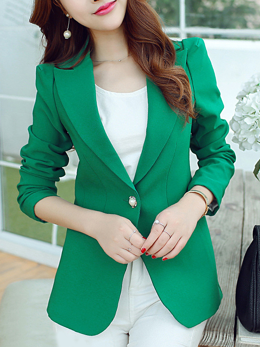 Notch Lapel Plain Single Button Puff Sleeve Blazer