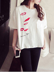 Spring Summer  Polyester  Women  Round Neck  Printed Short Sleeve T-Shirts