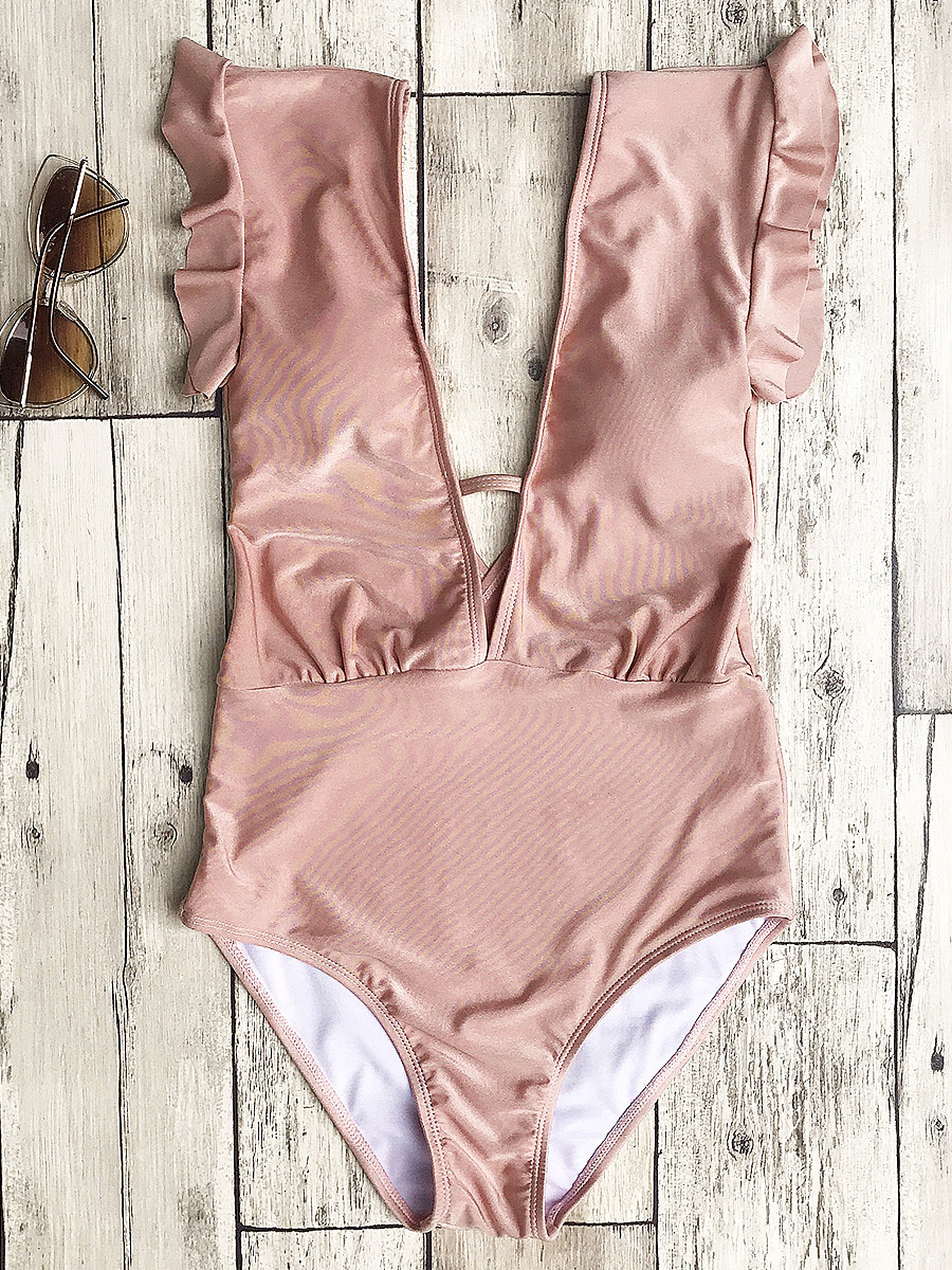 Frilled Plunge One Piece Swimsuit