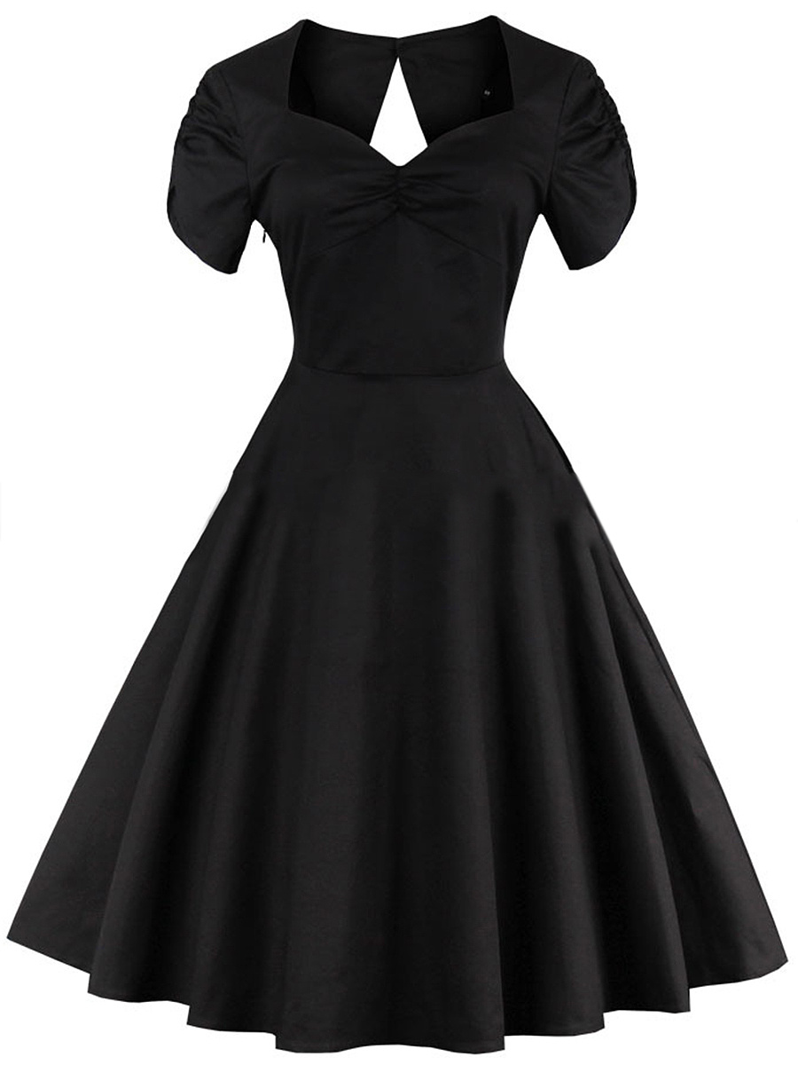 Sweet Heart  Back Hole  Plain  Polyester Skater Dress