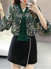 Spring Summer  Polyester  Women  Tie Collar  Floral Printed  Bell Sleeve  Three-Quarter Sleeve Blouses