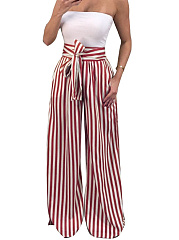 Bow  Belt  Striped Pants