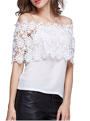 Summer  Lace  Women  Off Shoulder  Decorative Lace  Plain  Half Sleeve Blouses
