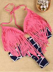 Halter-Fringe-Color-Block-Printed-Bikini