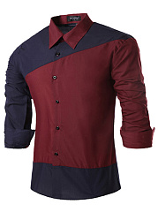 Trendy Color Block Long Sleeve Men Shirts