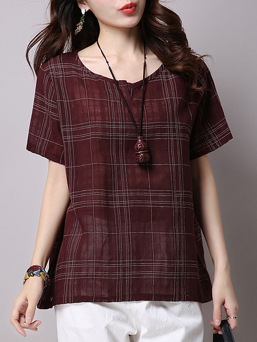 Round Neck  Plaid Plain Short Sleeve T-Shirt