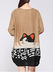 Round Neck  Polka Dot Cat Printed Plus Size T-Shirt