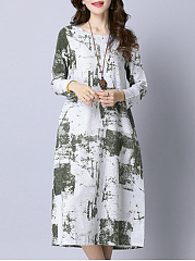 Round Neck Pocket Printed Midi Shift Dress