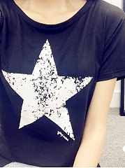 Summer  Polyester  Women  Round Neck  Star Short Sleeve T-Shirts