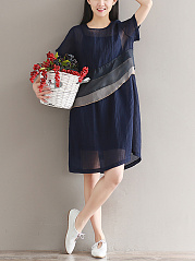 Round Neck  Color Block  Polyester Shift Dress