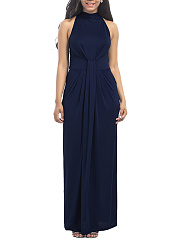 Band-Collar-Ruched-Plain-Evening-Dress