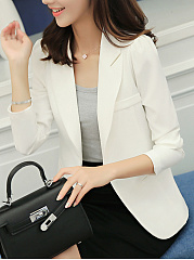 Office Notch Lapel Single Button Plain Blazer