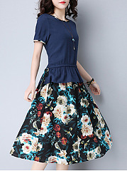 Round-Neck-T-Shirt-And-Floral-Printed-Flared-Midi-Skirt