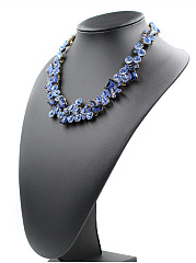 Gold Tone Blue Rhinestone Embellished Necklace