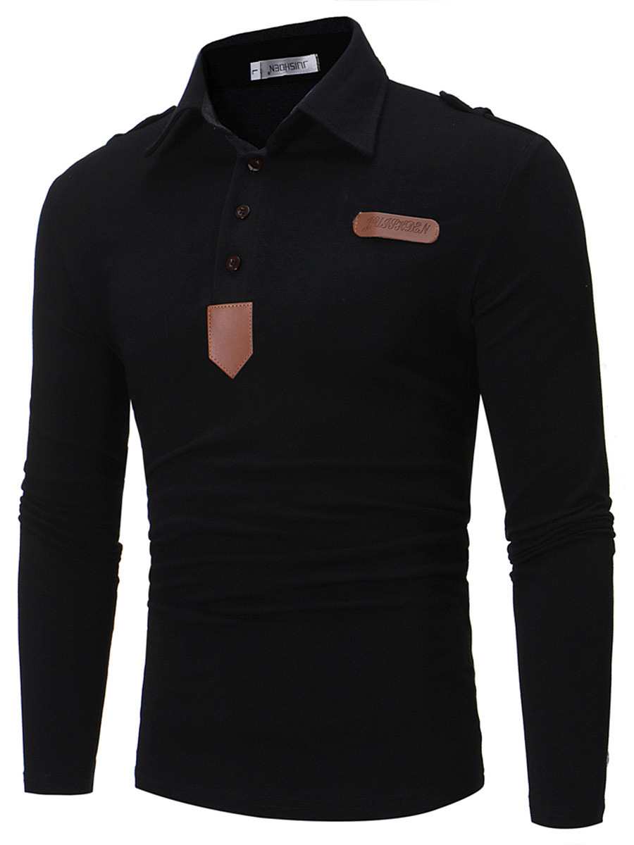 Polo Collar Decorative Patch Men T-Shirt