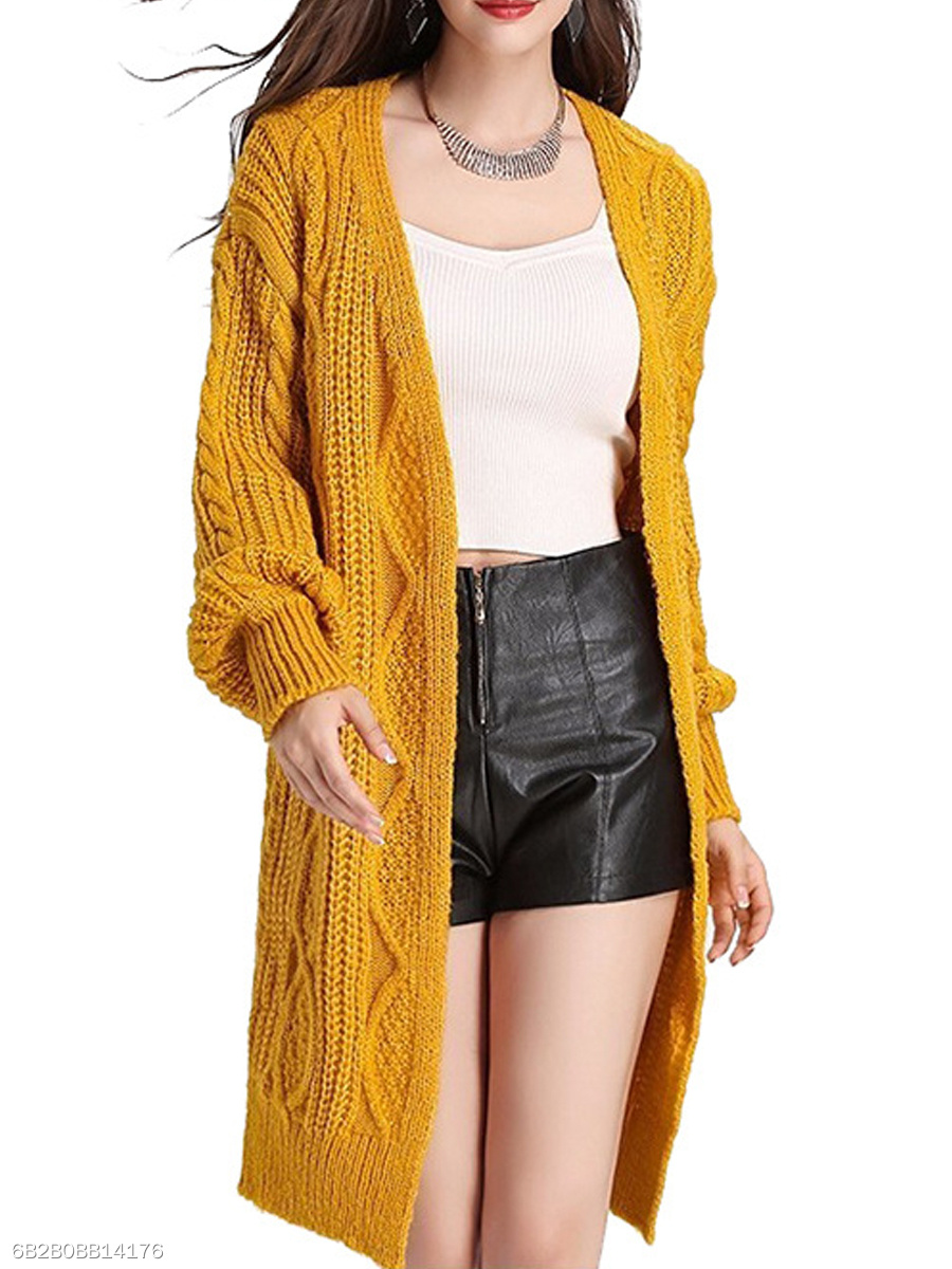 Embossed  Puff Sleeve  Long Sleeve Coats