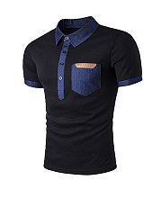 Contrast Trim Patch Pocket Polo Collar T-Shirt