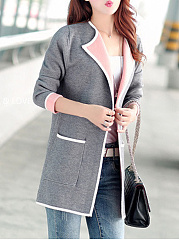 Contrast Trim Patch Pocket Lapel  Cardigan