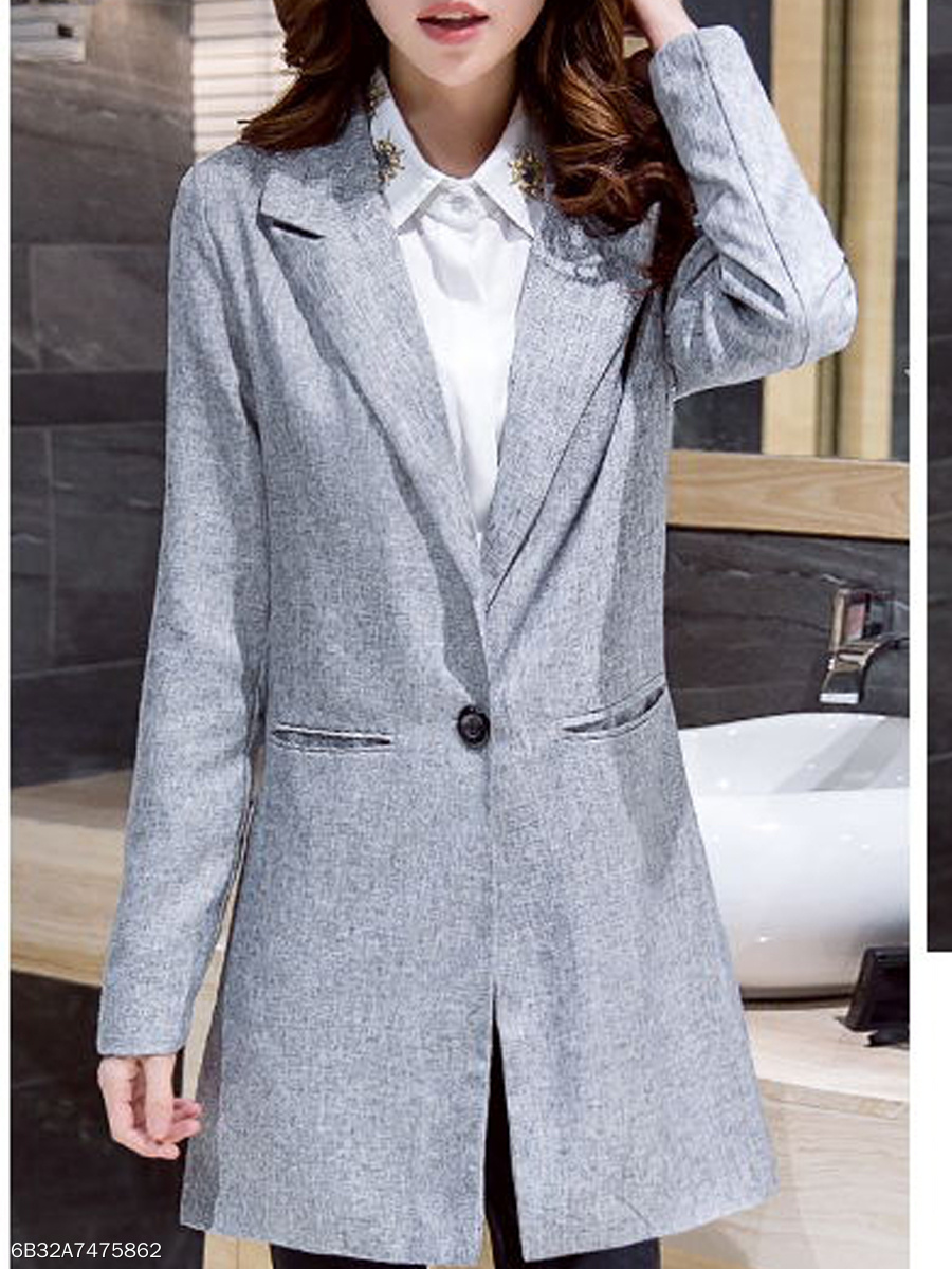 Notch Lapel  Decorative Button  Plain  Long Sleeve Blazers