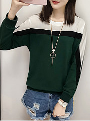 Round Neck  Patch Pocket  Color Block Long Sleeve T-Shirts