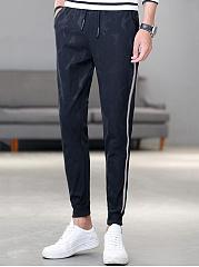 Striped-Elastic-Waist-Mens-Sport-Jogger-Pants