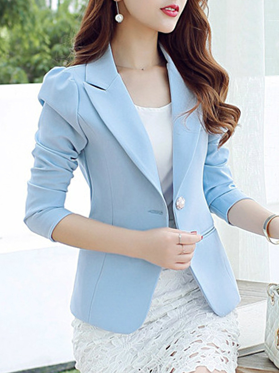 Notch Lapel Solid Single Button Blazer