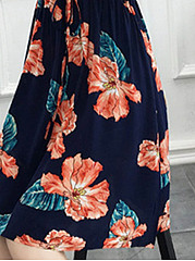 Casual Drawstring Floral Printed Round Neck Skater Dress