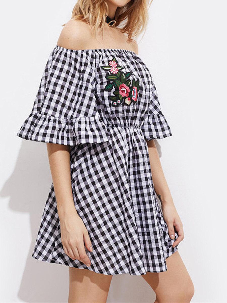 Cute Off Shoulder Plaid Elastic Waist Decorative Patch Skater Dress