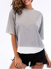 Summer  Cotton  Women  Round Neck  Asymmetric Hem Patchwork  Plain Short Sleeve T-Shirts