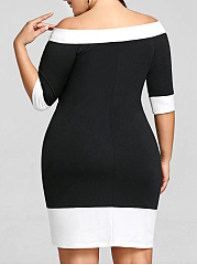 Off Shoulder  Color Block Plus Size Bodycon Dresses