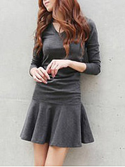 Round Neck  Elastic Waist  Plain  Cotton Skater Dress
