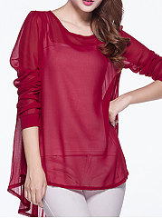 Spring Summer  Chiffon  Women  Round Neck  Asymmetric Hem  Plain  Long Sleeve Blouses