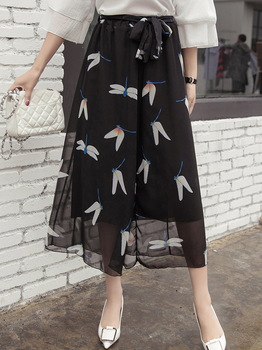 Dragonfly Printed Bowknot Wide-Leg Casual Pants