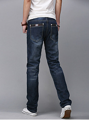 Contrast Trim Ripped Light Wash Straight Men's Jeans