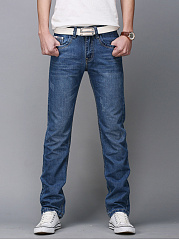 Contrast-Trim-Ripped-Light-Wash-Straight-Mens-Jeans