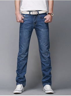 Contrast Trim Ripped Light Wash Straight Mens Jeans