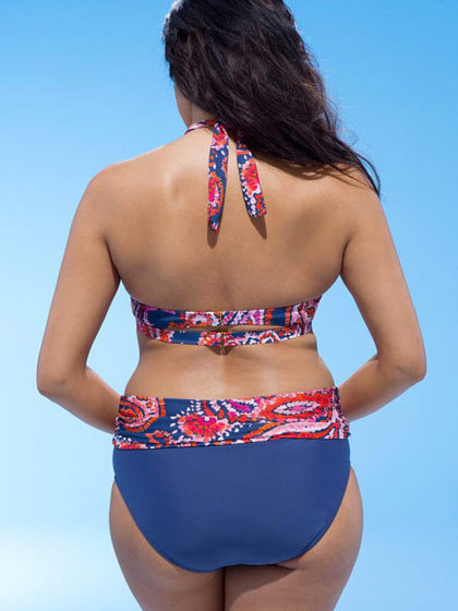 Floral Tribal Printed  High-Rise Big Size Swimwear