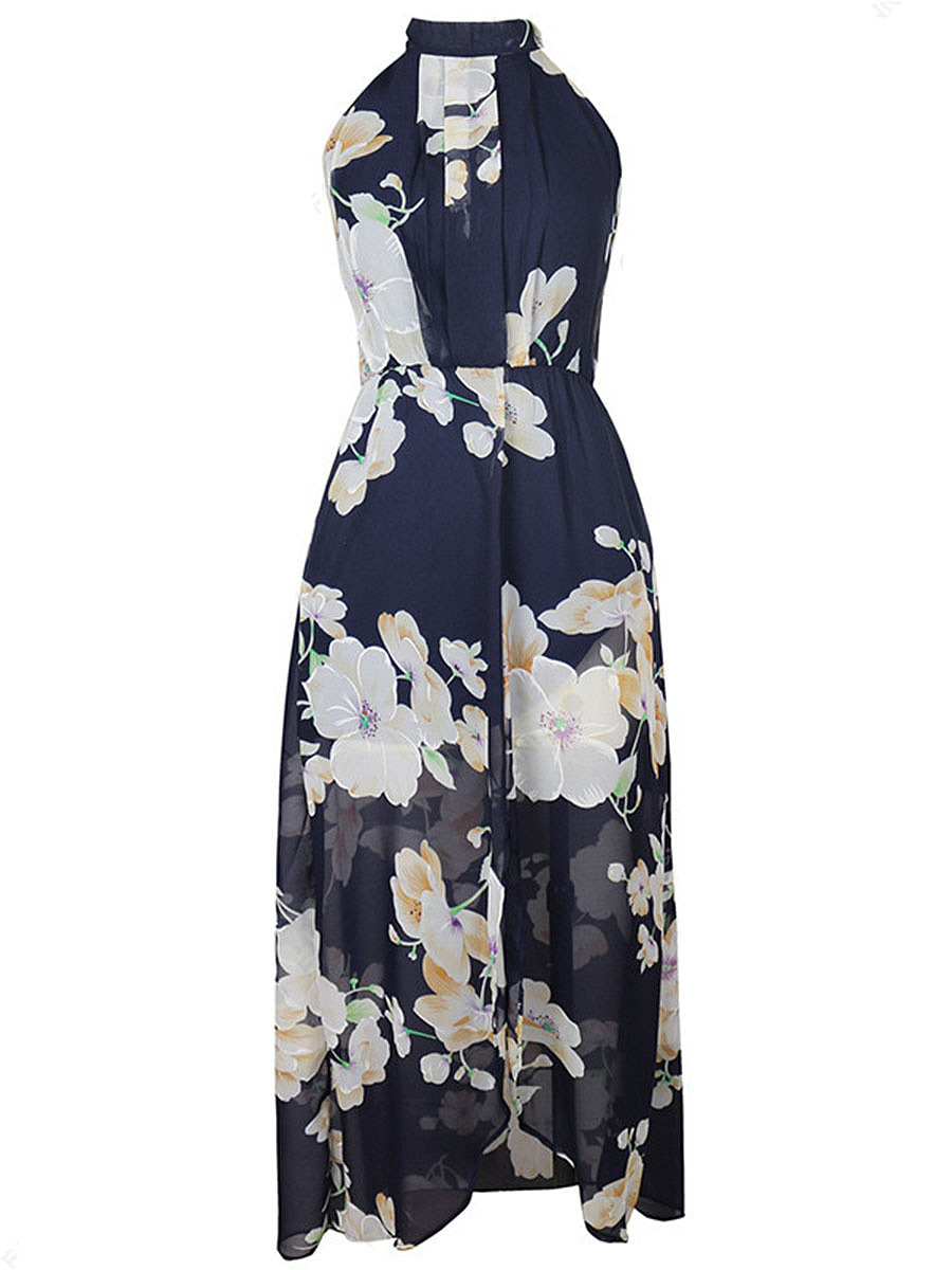 Halter High Slit Floral Printed Chiffon Maxi Dress