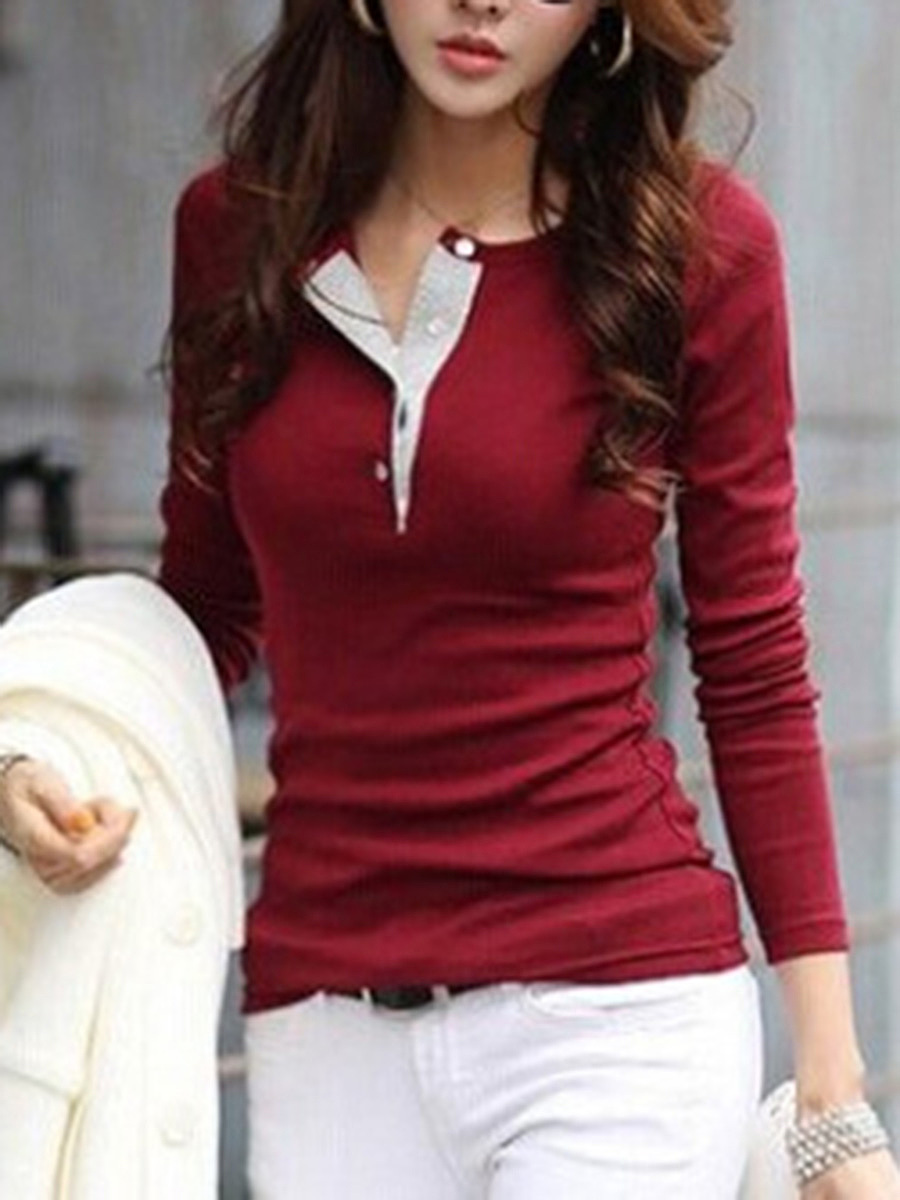 Round Neck  Patchwork  Plain Long Sleeve T-Shirt