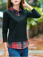 Fold Over Collar  Checkered Blouses