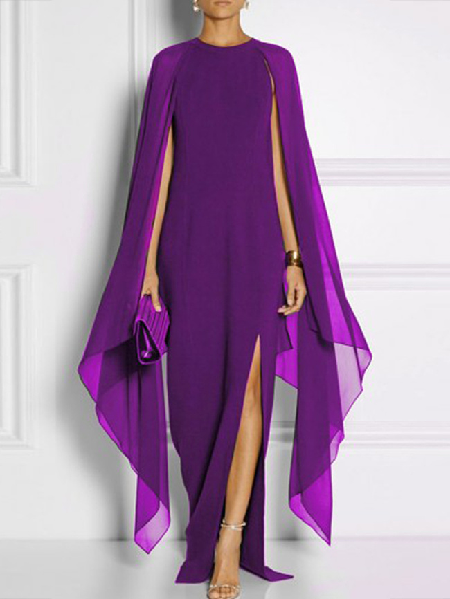 Image of Fashionmia Cape Sleeve High Slit Plain Chiffon Maxi Dress
