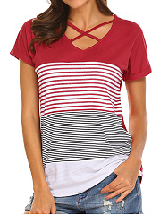 Summer  Polyester  Women  Surplice  Striped Short Sleeve T-Shirts