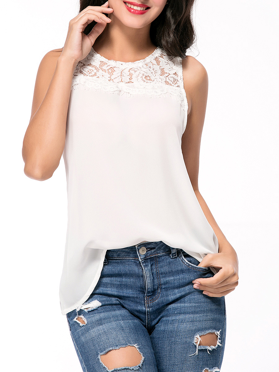 Solid Round Neck Patchwork Hollow Out Sleeveless T-Shirt