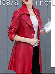 Notch Lapel  Decorative Button  Plain  Long Sleeve Trench Coats