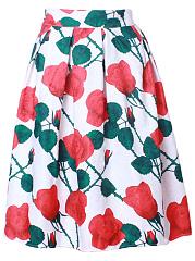 Floral-Printed-Inverted-Pleat-Flared-Midi-Skirt