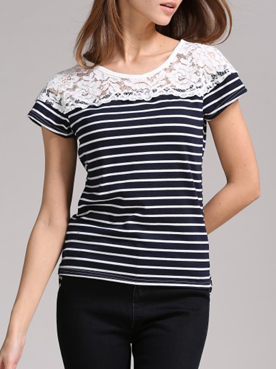Patchwork Hollow Out Striped Short Sleeve T-Shirt