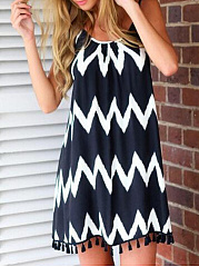 Spaghetti Strap  Tassel  Geometric Shift Dress
