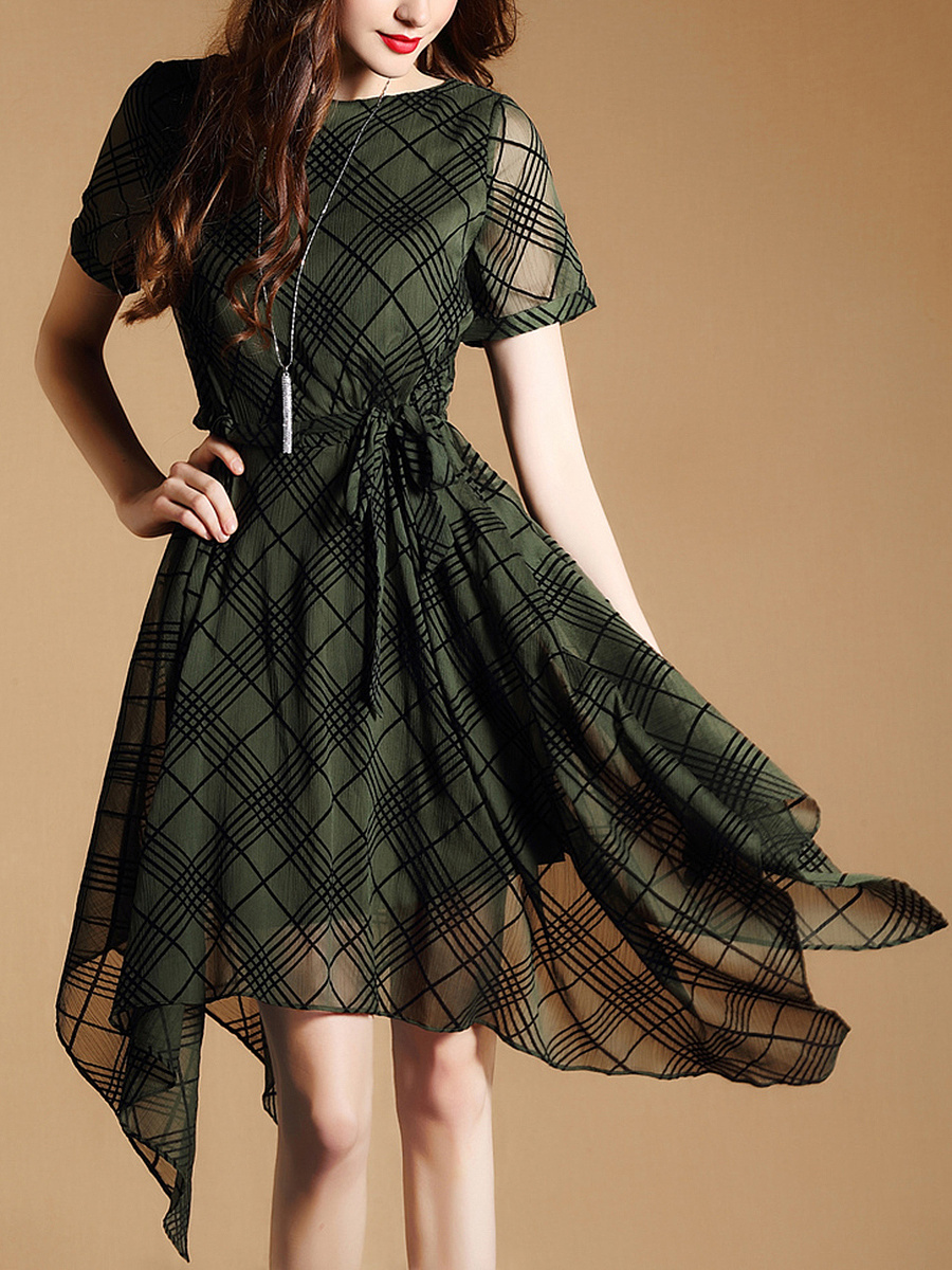 Asymmetric Hem Plaid Drawstring Skater Dress